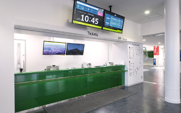 Ticket counter on the first floor of the mountain base station
