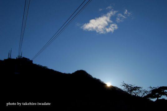 函館山に日落ちる