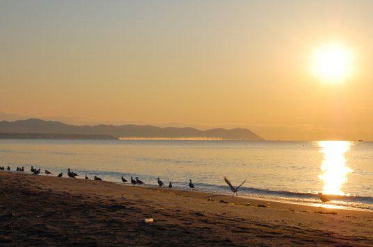 日の昇る海岸